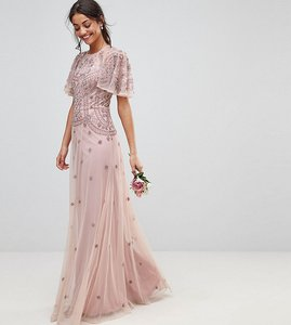 Read more about Asos tall wedding iridescent delicate beaded flutter sleeve maxi dress - dusky pink