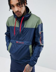 Read more about Columbia challenger packable overhead hooded jacket lightweight in navy green - collegiate navy