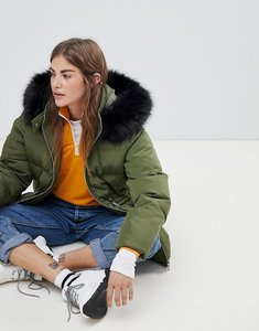 Read more about Asos design puffer jacket with waist detail and faux fur hood - khaki