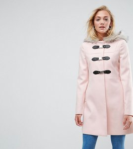Read more about Asos tall duffle coat with faux fur hood - pink