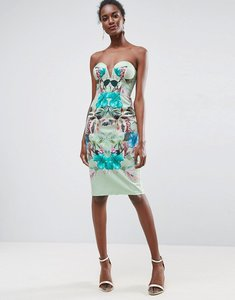 Read more about Asos mint tropical floral placed cupped bandeau midi dress - multi