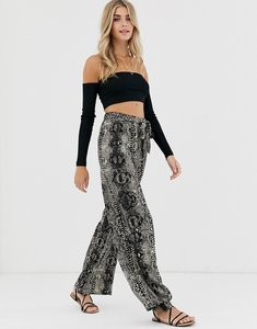 Read more about Qed london wide leg trousers in snake print