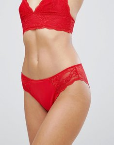 Read more about Monki lace trim brief - red