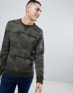 Read more about Abercrombie fitch destroyed military camo print logo crewneck sweatshirt in green - camo print