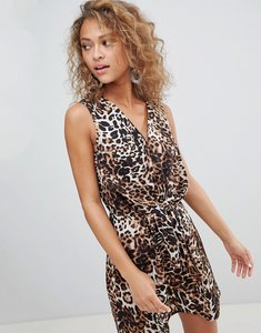 Read more about Miss selfridge leopard print knot front mini dress - multi