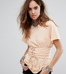 Read more about Sacred hawk relaxed t-shirt with corset waist detail - nude