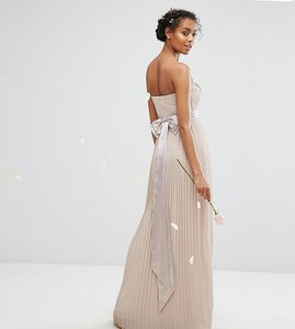 Read more about Tfnc wedding bandeau maxi dress with bow back detail - mink