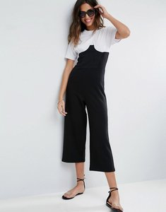 Read more about Asos jersey jumpsuit with corset rib waist and cup detail - black white