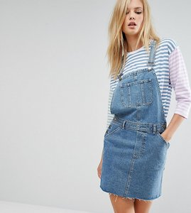Read more about Asos tall denim dungaree dress in midwash blue - blue