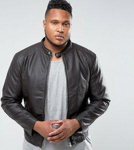 Read more about Barney s originals plus faux leather biker jacket - brown