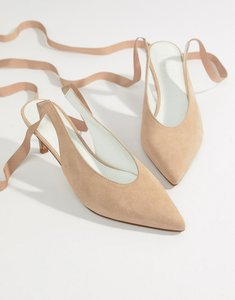 Read more about Asos white foxglove suede kitten heels - beige