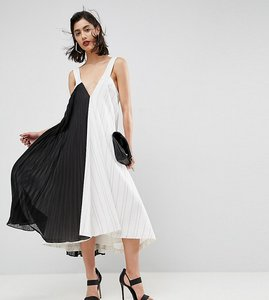 Read more about Asos premium midi dress with contrast pleat panel - white black