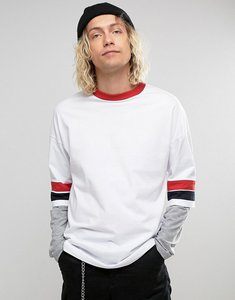 Read more about Asos oversized longline long sleeve t-shirt with retro colour blocking and layered sleeve - white