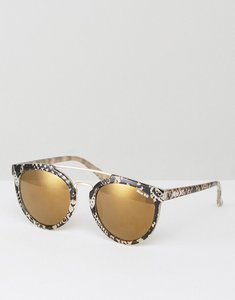 Read more about Miss kg bridge bar round sunglassed in snake print - gold snake