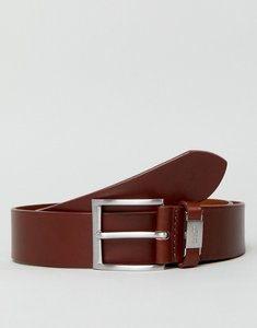 Read more about Boss smooth leather logo keeper belt in tan - 213