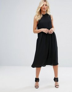 Read more about Y a s high neck midi dress - black