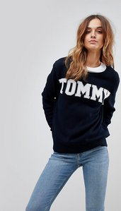 Read more about Tommy hilfiger logo knitted jumper - midnight black