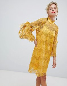 Read more about Y a s high neck lace dress with frill sleeve - yellow