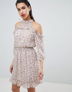 Read more about Vila cold shoulder ruffle dress - adobe rose