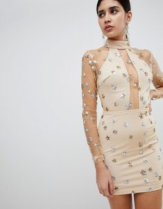 Read more about Rare london mesh and sequin star mini dress - beige