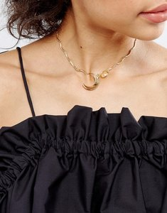 Read more about Designb london delicate charm choker - gold
