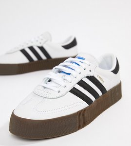 Read more about Adidas originals samba rose trainers in white with dark gum sole - white