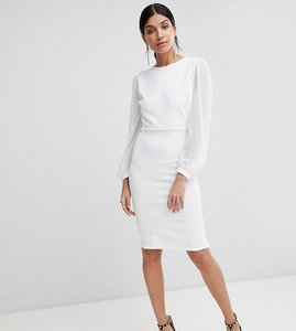 Read more about John zack tall open back bodycon dress with split sleeve detail - white