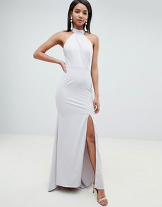 Read more about Jarlo high neck fishtail maxi dress with open back detail in grey