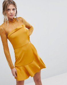 Read more about Asos delicate lace scuba ruffle shift mini dress - mustard