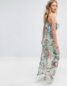 Read more about Bershka floral printed one shoulder midi dress - blue