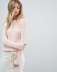 Read more about Polo ralph lauren classic cable knit jumper - pale pink