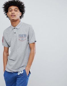 Read more about Tokyo laundry pop collar polo shirt - light grey marl