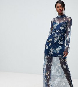 Read more about Asos tall printed mesh maxi dress with shirred neck - multi