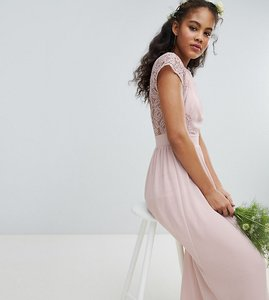 Read more about Tfnc tall maxi bridesmaid dress with scalloped lace and open back - mink