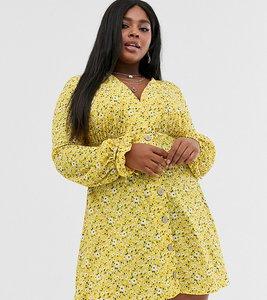 Read more about Asos design curve textured ditsy print mini tea dress with tie cuff and matching scrunchie