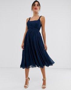 Read more about Asos design soft chiffon square neck midi prom dress with twist strap