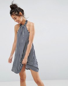 Read more about Asos halter swing sundress in stripe - navy white stripe