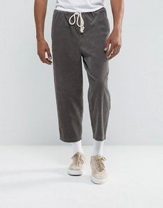 Read more about Asos oversized tapered cord trousers with rope detail in grey - grey