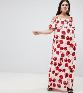 Read more about Lovedrobe poppy print cold shoulder maxi dress - multi