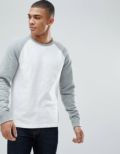 Read more about Abercrombie fitch long sleeve baseball top contrast sleeve in grey off white - grey jet stream