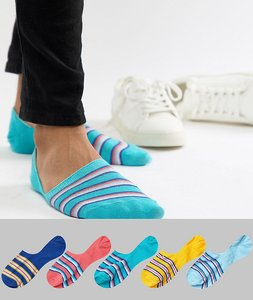 Read more about Asos design invisible liner socks in retro stripes 5 pack - multi