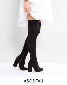 Read more about Asos katcher tall heeled over the knee boots - black