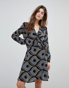 Read more about Liquorish long sleeved wrap dress with frilled neckline in mozaic print - print