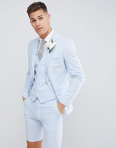 Read more about French connection wedding linen slim fit suit jacket - blue