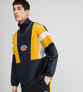 Read more about Ellesse 1 4 zip funnel track jacket with panels in black - black