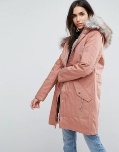 Read more about Asos parka with detachable faux fur liner - pink