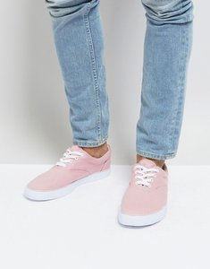 Read more about Asos lace up plimsolls in pink canvas - pink