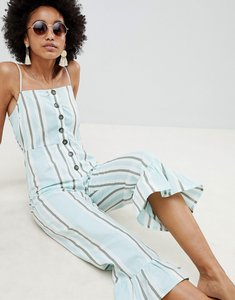 Read more about Asos design cotton frill hem jumpsuit with square neck and button detail in variated stripe - varied