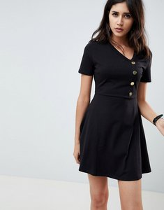 Read more about Asos design mini skater dress with button front - black