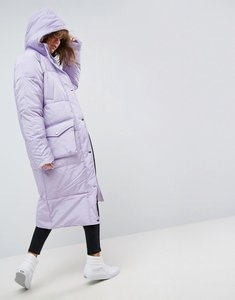 Read more about Asos longline puffer jacket with pocket detail - lilac